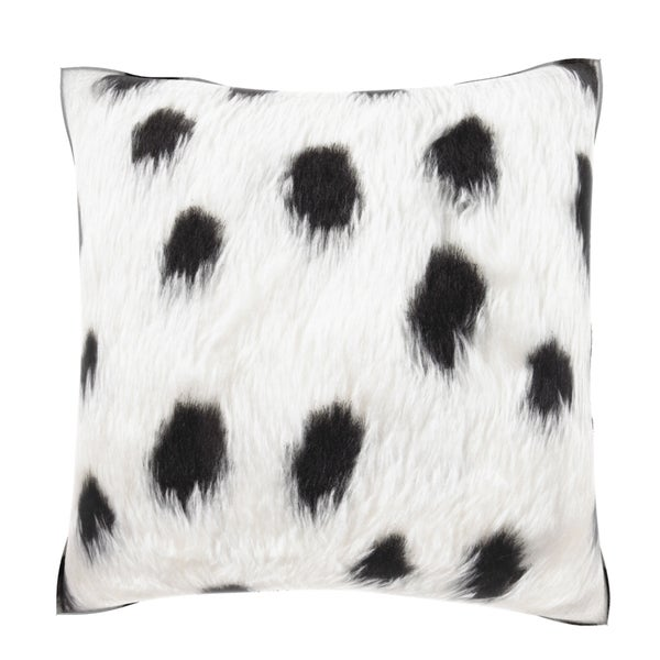 Black Spotted Faux Fur 18-inch Velour Throw Pillow - Free Shipping Today - Overstock.com - 16104347