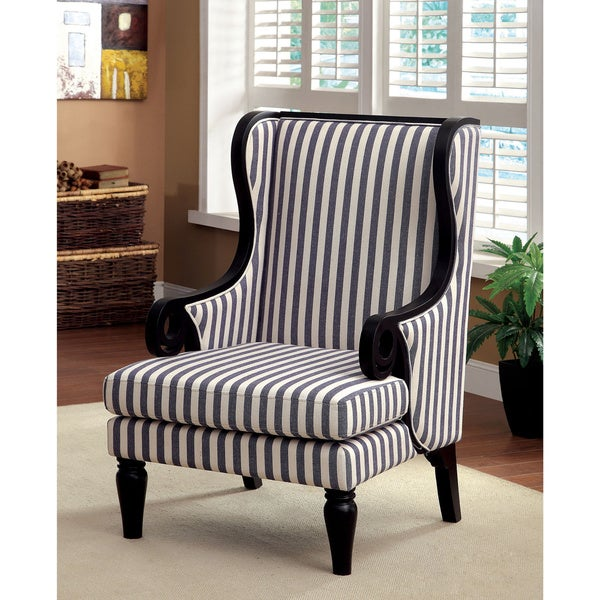 Furniture of america ravi transitional wingback striped for Striped chairs living room