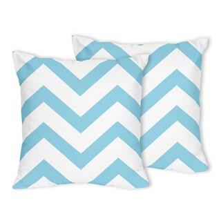 Sweet Jojo Designs Turquoise/ White Chevron Throw Pillows (Set of 2)