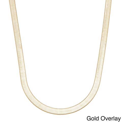 Simon Frank Designs 7mm Herringbone Gold/Silver Overlay Neck Chain(24-Inch)