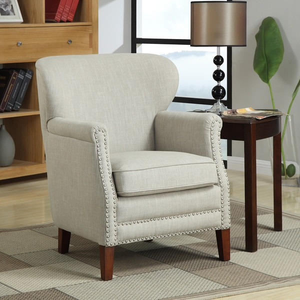 Shop Erika Brown Beige Linen Accent Chair Free Shipping