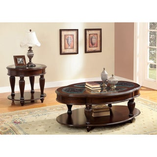 Furniture of America Zerathe Cherry 2-piece Accent Table Set