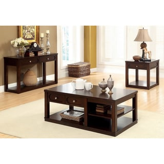Furniture of America 'Desiree' Brown Cherry 3-piece Occasional Table Set