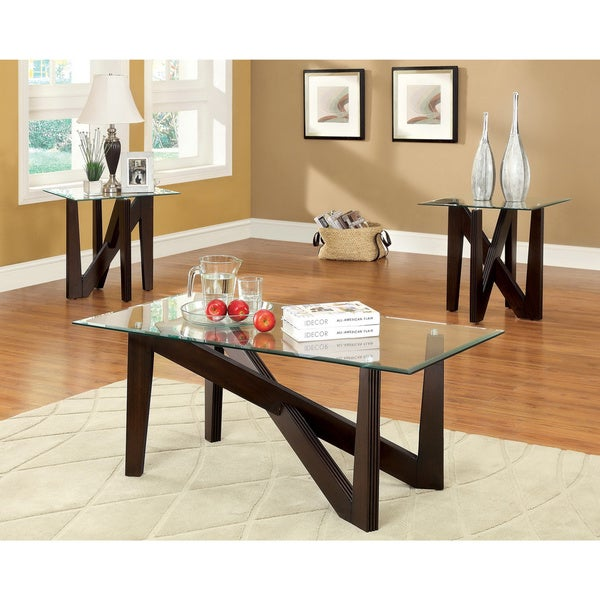 Oval Glass Coffee Table 3 Piece Set Furniture Home Decor: Shop Furniture Of America 'Napine' Glass Top 3-piece