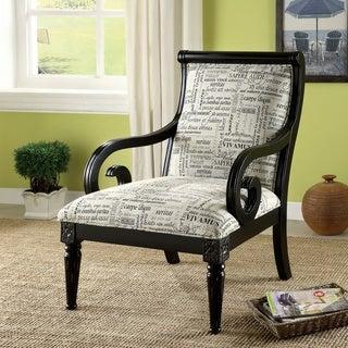 Furniture of America 'Scrolli' Script Printed Fabric Scroll Arm Accent Chair