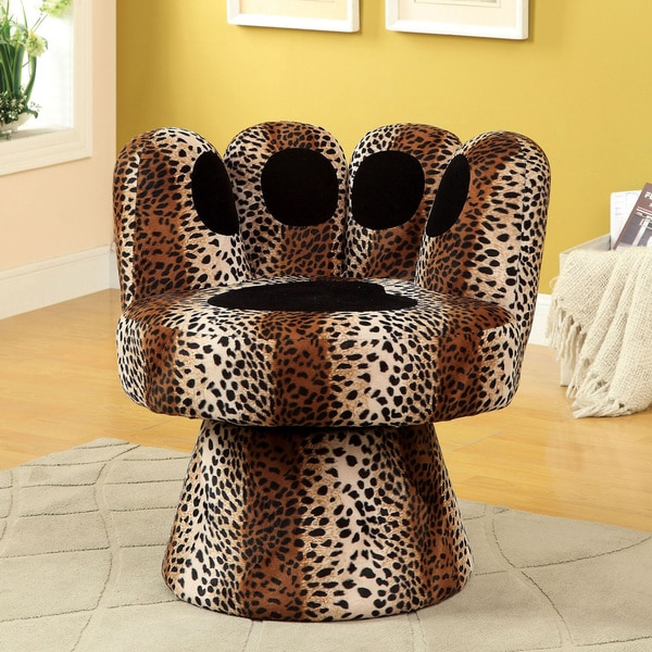 furniture of america feline pawinspired swivel accent chair