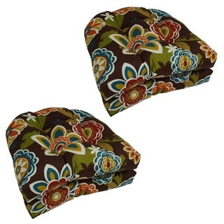 Blazing Needles 19-inch U-Shaped Outdoor Tufted Chair Cushions (Set of 4)