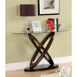 Furniture of America Faza Contemporary Walnut Solid Wood Sofa Table