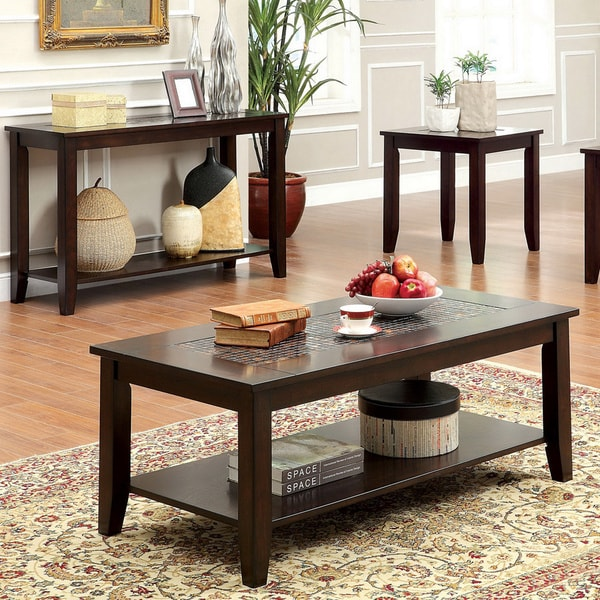 Furniture of America 'Kalani' Mosaic Insert 3-piece Coffee/ End Table Set - Furniture Of America 'Kalani' Mosaic Insert 3-piece Coffee/ End