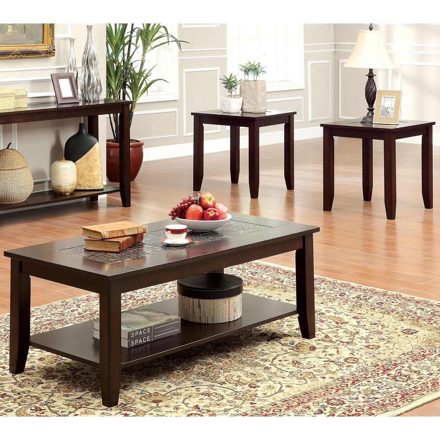 Furniture Of America Xude Transitional Cherry 3 Piece Accent Table Set On Sale Overstock 8880673