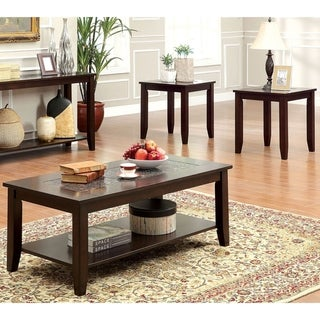 Furniture of America Xude Transitional Cherry 3-piece Accent Table Set