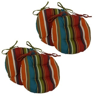 Blazing Needles 16-inch Round Tufted Outdoor Chair Cushions (Set of 4)