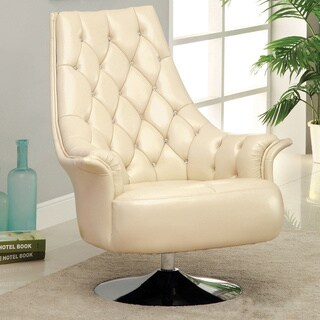 Furniture of America 'Wynzel' Ivory/ Chrome-plated Swivel Chair