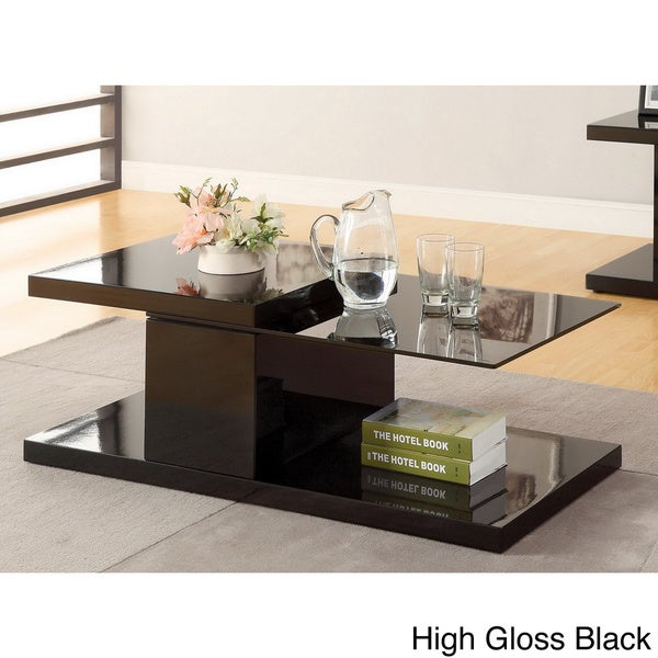 Furniture Of America Vironte High Gloss Swivel Top Coffee Table