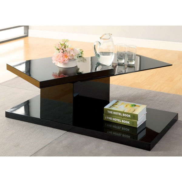 Furniture Of America Vironte High Gloss Swivel Top Coffee Table   Free  Shipping Today   Overstock.com   16104402