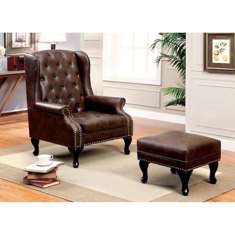 Furniture of America Corr Brown 2-piece Chair w/ Ottoman Set