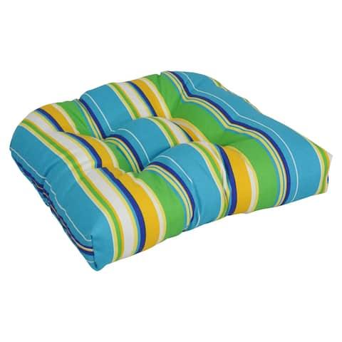 """Blazing Needles 19-inch U-shaped Indoor/Outdoor Chair Cushion - 19"""" x 19"""""""