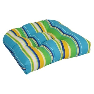 Blazing Needles 19-inch U-shaped Tufted Outdoor Chair Cushion