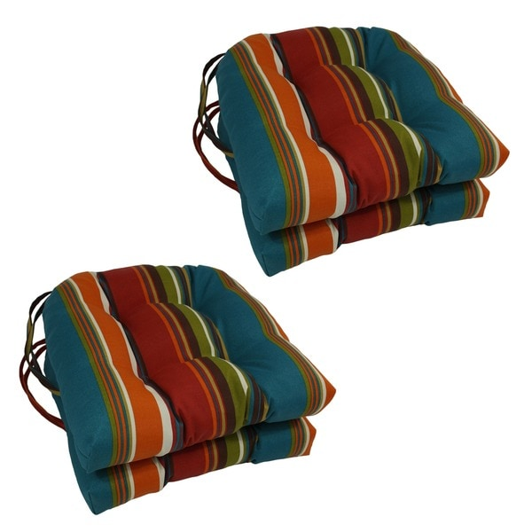 "Blazing Needles 16-inch U-shaped Tufted Outdoor Chair Cushions (Set of 4) - 16"" x 16"""