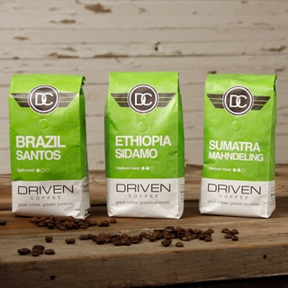Driven Coffee 3-pack Single Origin Whole Bean Coffee Sampler (Donating 10 Percent of Sales)