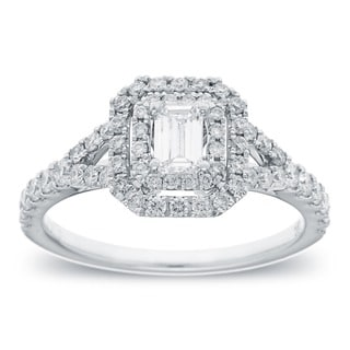 Azaro 14k White Gold 1ct TDW Emerald Cut Diamond Halo Engagement Ring
