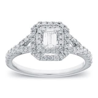 Azaro 14k White Gold 1ct TDW Emerald Cut Diamond Halo Engagement Ring|https://ak1.ostkcdn.com/images/products/8880749/14k-White-Gold-1ct-TDW-Emerald-Cut-Diamond-Halo-Engagement-Ring-G-H-SI2-I1-P16104461.jpg?impolicy=medium