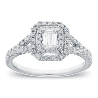 Azaro 14k White Gold 1ct TDW Emerald Cut Diamond Halo Engagement Ring