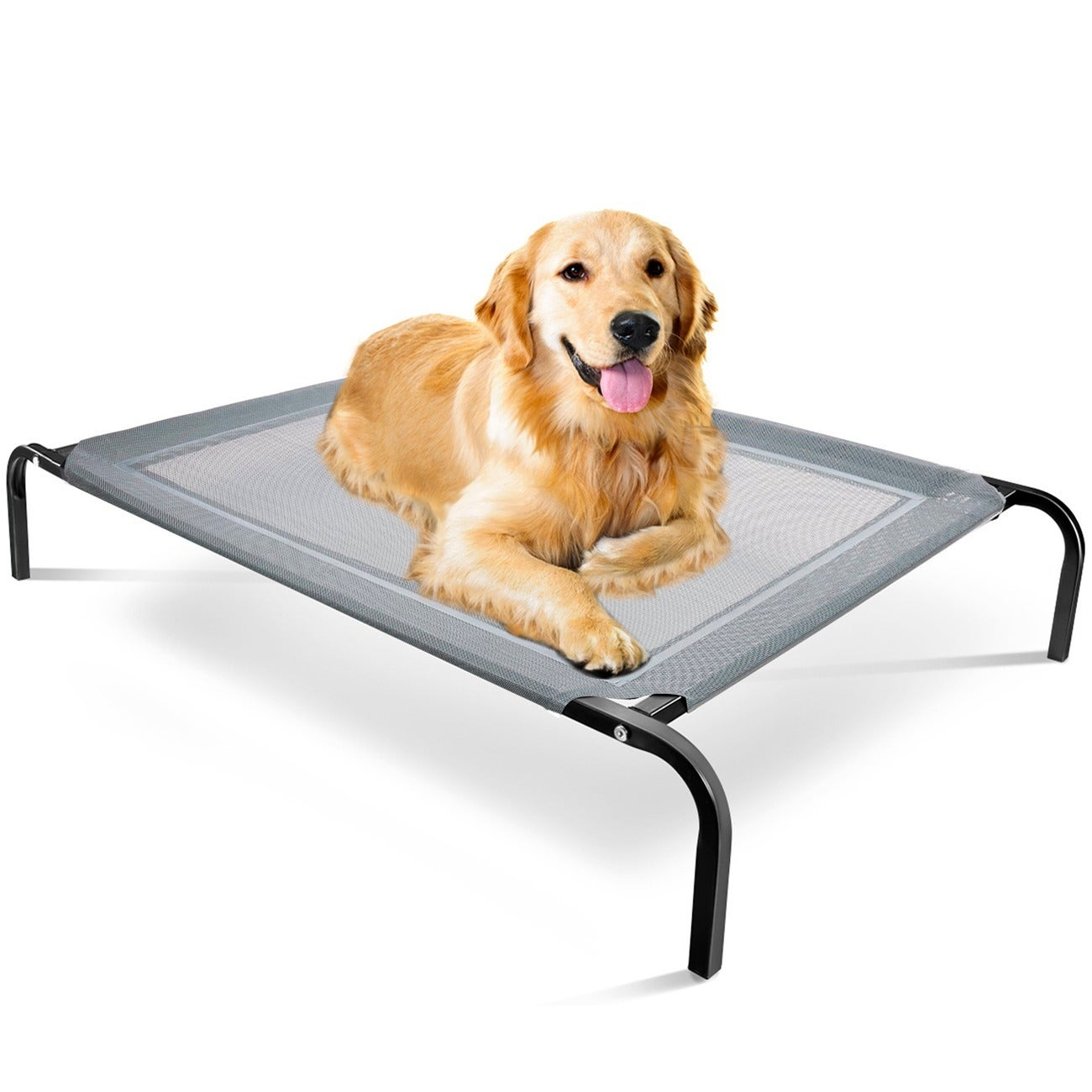 OxGord Cat/ Dog Steel-Framed Elevated 43.5 x 29.5-inch Black Fabric Pet Bed (Bed)