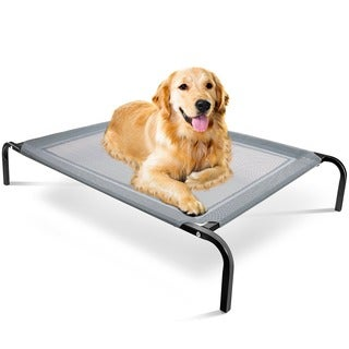 OxGord Cat/ Dog Steel-Framed Elevated 43.5 x 29.5-inch Black Fabric Pet Bed