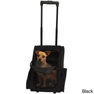 Black Oxgord Cat Dog Comfort Travel Portable Pet Rolling Backpack