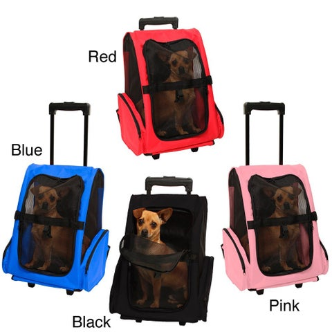 OxGord Cat/Dog Comfort Travel Portable Pet Mesh Rolling Backpack