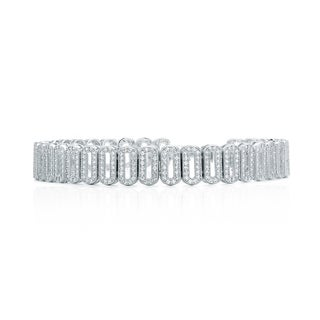 Blue Box Jewels Rhodium-plated 925 Sterling Silver Premium Cubic Zirconia Open Round Tennis Bracelet