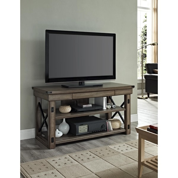 ameriwood home wildwood wood veneer rustic grey 50 inch tv stand free shipping today. Black Bedroom Furniture Sets. Home Design Ideas