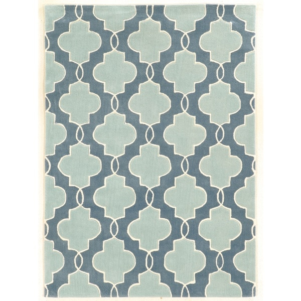 Linon Trio Collection Moroccan Blue/ Ivory Area Rug (8' x 10')