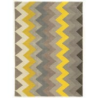 Linon Trio Collection Chevron Grey/ Yellow Area Rug (8' x 10') - 8' x 10'