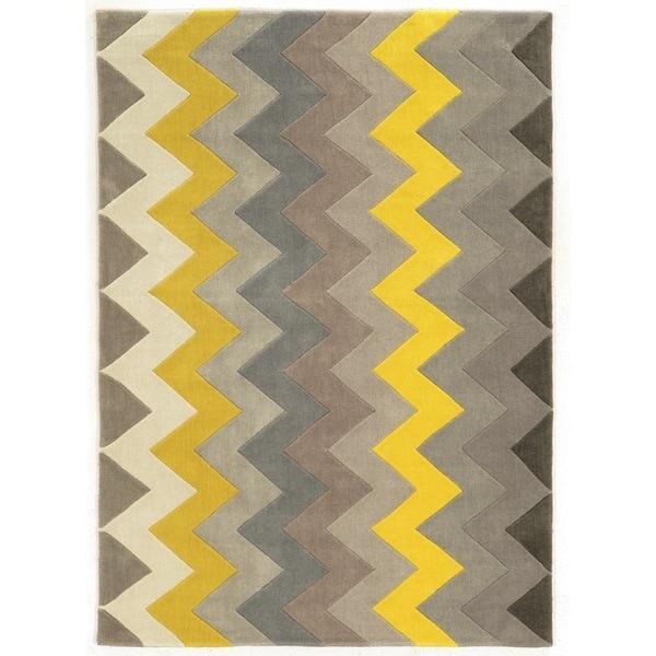 Linon Trio Collection Chevron Grey/ Yellow Area Rug (8u0026#x27; ...