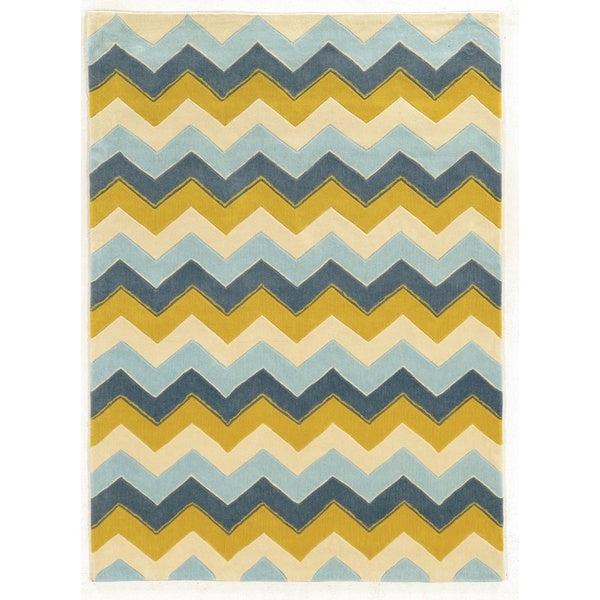Linon Trio Collection Chevron Blue/ Yellow Area Rug (5' x 7') - 5' X 7'