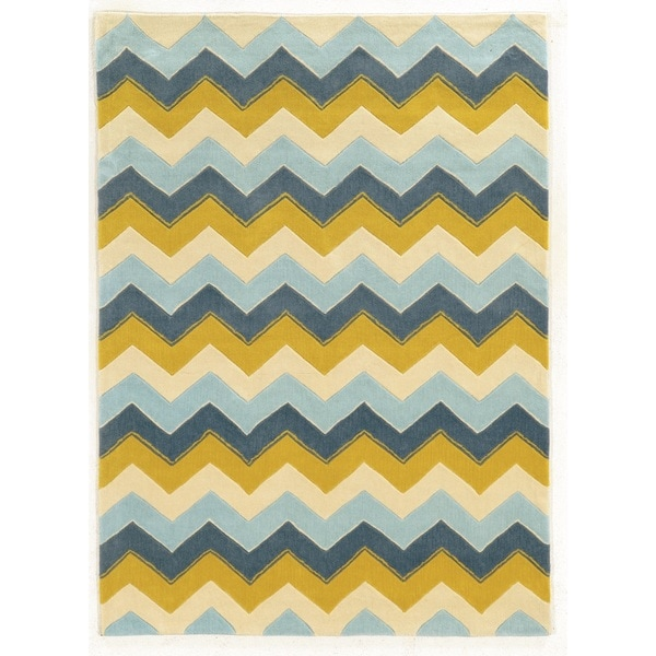 Linon Trio Collection Chevron Blue/ Yellow Area Rug (8' x 10') - 8' x 10'