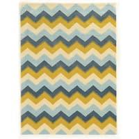 Linon Trio Collection Chevron Blue/ Yellow Area Rug (8' x 10') - 8' x 10'