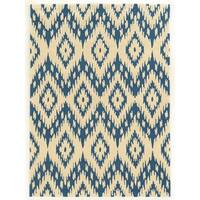 Linon Trio Collection Ikat Ivory/ Blue Area Rug (5' x 7') - 5' x 7'