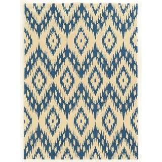 Linon Trio Collection Ikat Ivory/ Blue Area Rug (8' x 10')