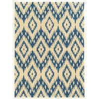 Linon Trio Collection Ikat Ivory/ Blue Area Rug (2' x 3') - 2' x 3'