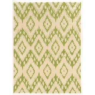 Linon Trio Collection Ikat Ivory/ Green Area Rug (8' x 10')