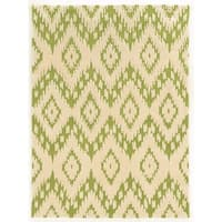 Linon Trio Collection Ikat Ivory/ Green Area Rug (8' x 10') - 8' x 10'