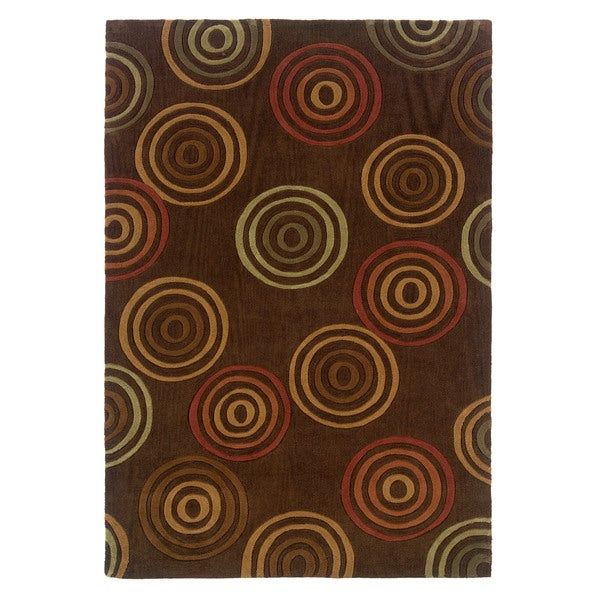 Linon Trio Collection Multi Rings Brown Area Rug (5' x 7')