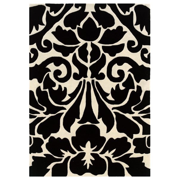 Linon Trio Collection Ikat Green/ Ivory Area Rug (5' x 7') - 5' x 7'