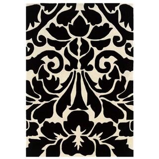 Linon Trio Collection Damask Black/ White Area Rug (8' x 10')