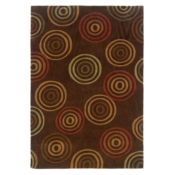 Linon Trio Collection Multi Rings Brown Area Rug (8' x 10')
