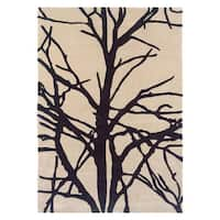 Linon Trio Collection Ivory/ Grey Tree Rug - 2' x 3'