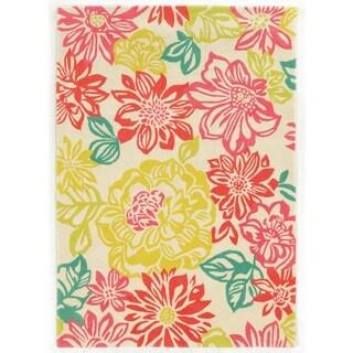 Linon Trio Collection Brights Floral Multicolored Area Rug (2' x 3')